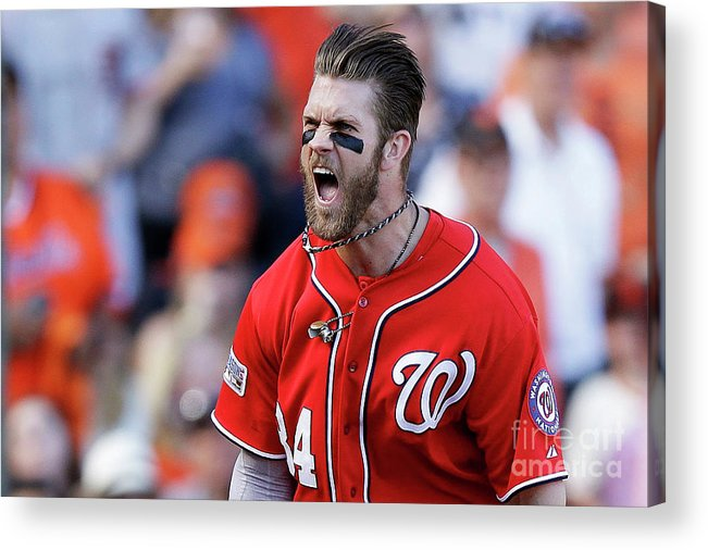 San Francisco Acrylic Print featuring the photograph Madison Bumgarner and Bryce Harper by Ezra Shaw