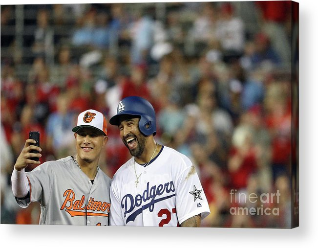 Second Inning Acrylic Print featuring the photograph Manny Machado and Matt Kemp by Patrick Smith