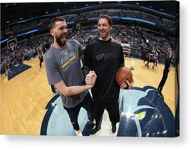 Nba Pro Basketball Acrylic Print featuring the photograph Marc Gasol and Pau Gasol by Joe Murphy