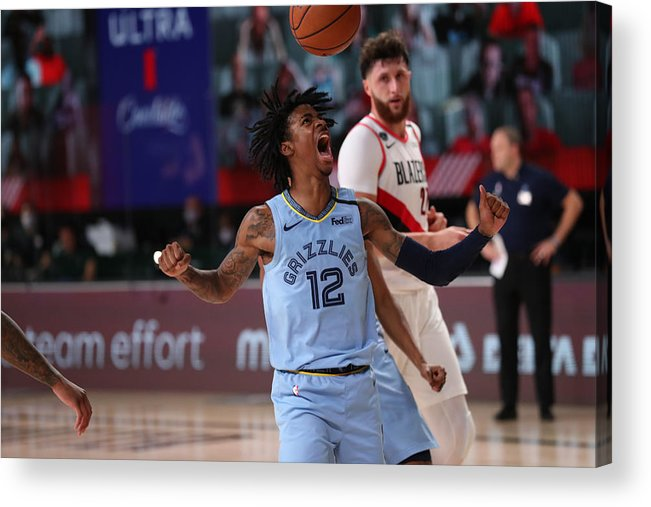 Nba Pro Basketball Acrylic Print featuring the photograph Memphis Grizzlies v Portland Trail Blazers by Joe Murphy