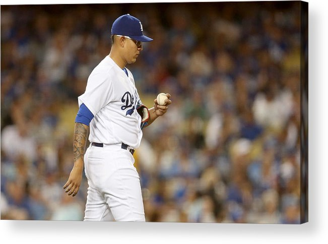 American League Baseball Acrylic Print featuring the photograph Miami Marlins v Los Angeles Dodgers by Stephen Dunn