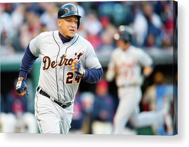American League Baseball Acrylic Print featuring the photograph Miguel Cabrera by Jason Miller