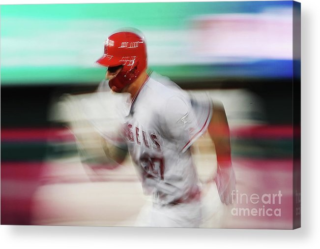 Three Quarter Length Acrylic Print featuring the photograph Mike Trout by Patrick Smith