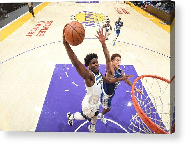 Nba Pro Basketball Acrylic Print featuring the photograph Minnesota Timberwolves v LA Lakers by Adam Pantozzi