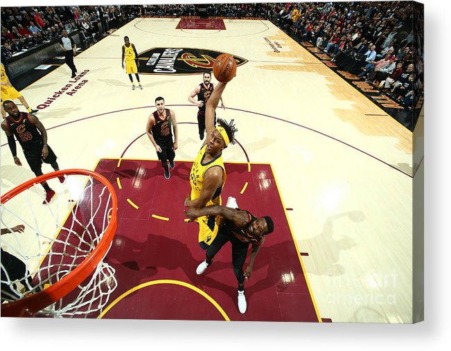 Playoffs Acrylic Print featuring the photograph Myles Turner by Nathaniel S. Butler