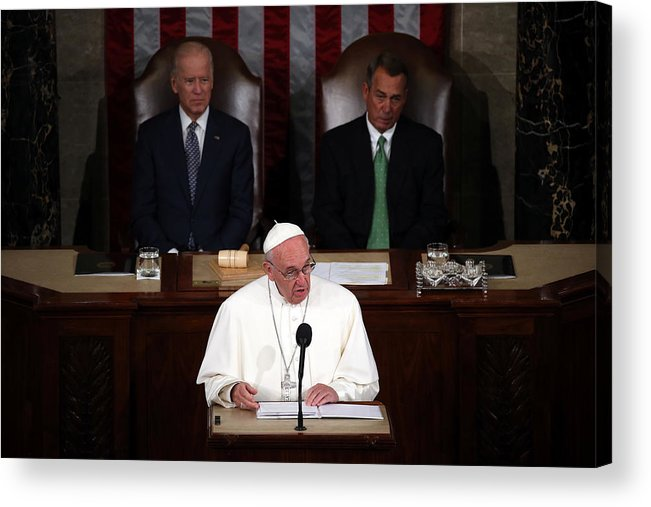 People Acrylic Print featuring the photograph Pope Francis Addresses Joint Meeting Of U.S. Congress by Mark Wilson
