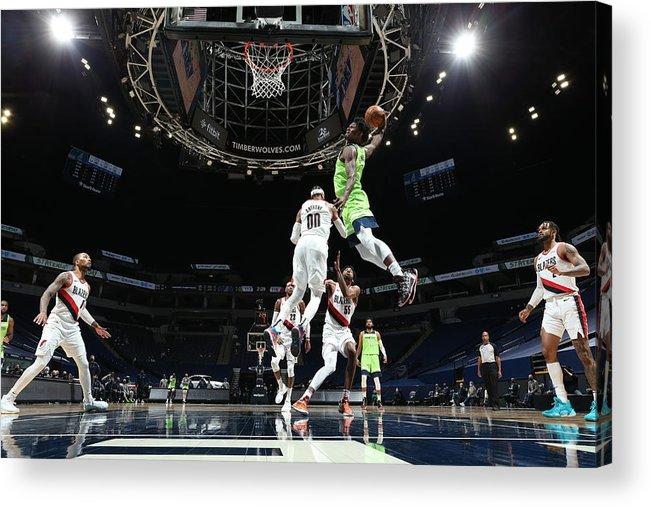 Nba Pro Basketball Acrylic Print featuring the photograph Portland Trail Blazers v Minnesota Timberwolves by David Sherman