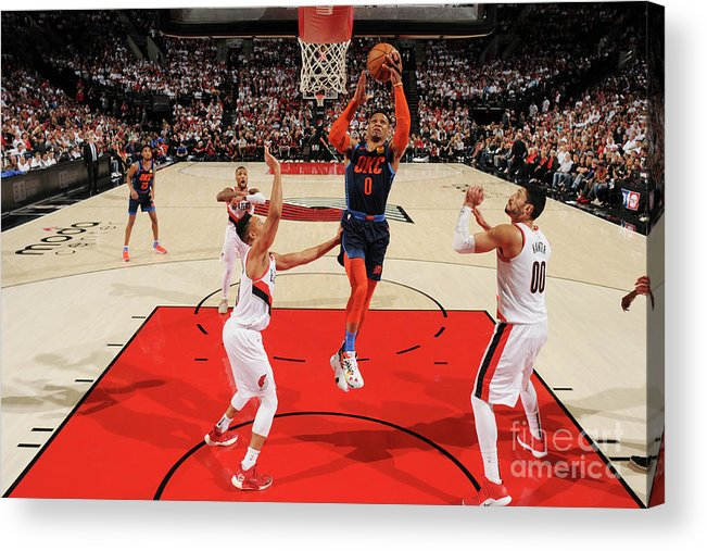 Playoffs Acrylic Print featuring the photograph Russell Westbrook by Cameron Browne