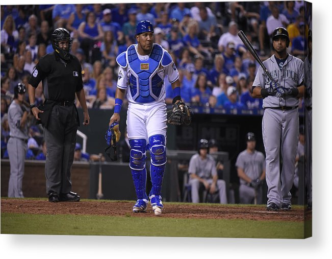 Salvador Perez Diaz Acrylic Print featuring the photograph Seattle Mariners v Kansas City Royals by Ed Zurga