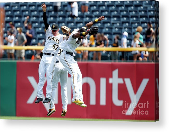 People Acrylic Print featuring the photograph Starling Marte and Gregory Polanco by Justin K. Aller