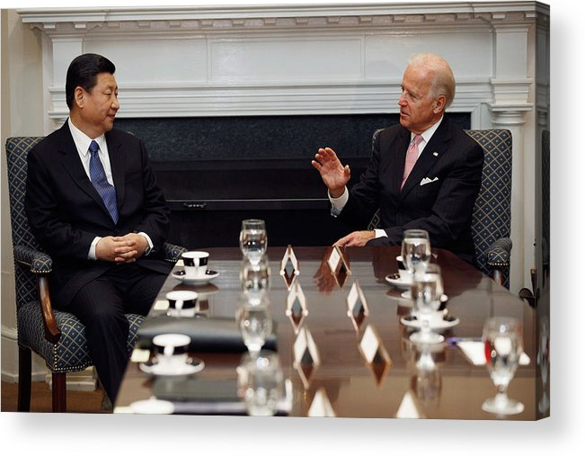 Joseph Biden Acrylic Print featuring the photograph Vice President Biden Holds Bilateral Meeting With Chinese Vice President Xi Jinping by Chip Somodevilla