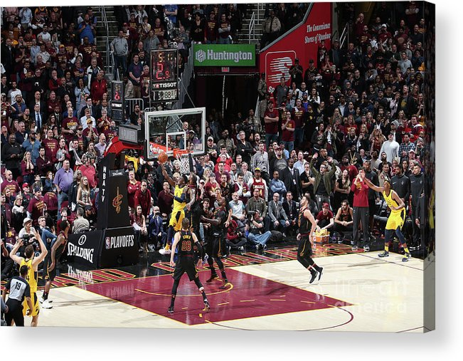 Playoffs Acrylic Print featuring the photograph Victor Oladipo and Lebron James by Nathaniel S. Butler