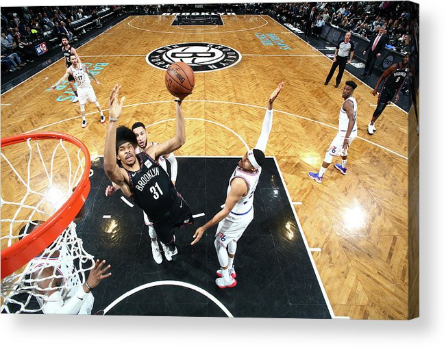 Playoffs Acrylic Print featuring the photograph Jarrett Allen by Nathaniel S. Butler