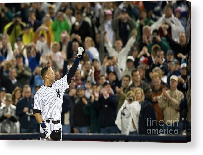 People Acrylic Print featuring the photograph Lou Gehrig and Derek Jeter by Icon Sports Wire
