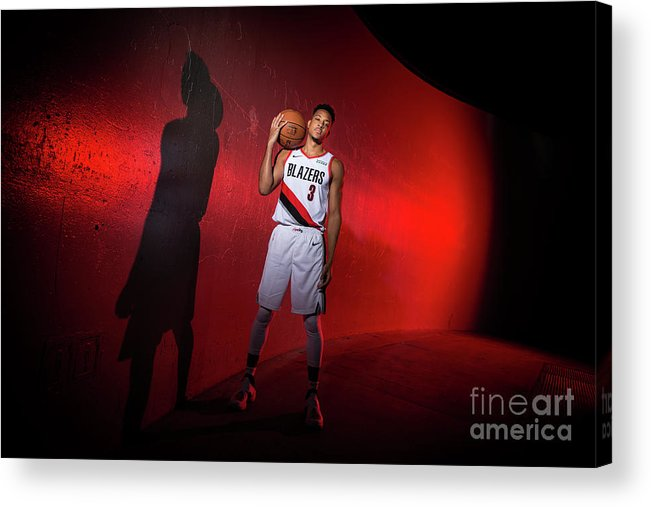 Media Day Acrylic Print featuring the photograph C.j. Mccollum by Sam Forencich