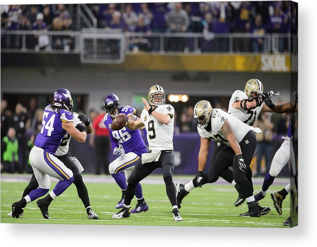 Playoffs Acrylic Print featuring the photograph Divisional Round - New Orleans Saints v Minnesota Vikings by Hannah Foslien