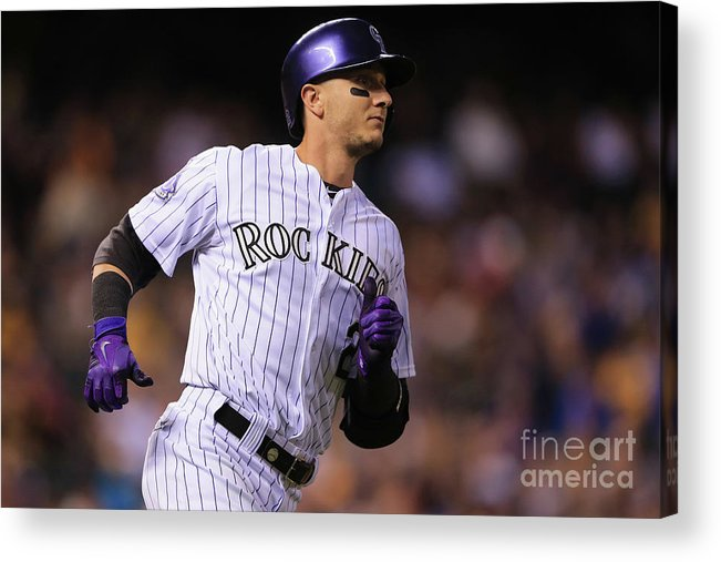 National League Baseball Acrylic Print featuring the photograph Troy Tulowitzki by Doug Pensinger
