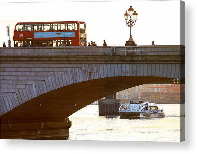 England Acrylic Print featuring the photograph Commuters Use New High-Speed Catamaran Clippers Operated By MBNA Thames Clippers by Bloomberg