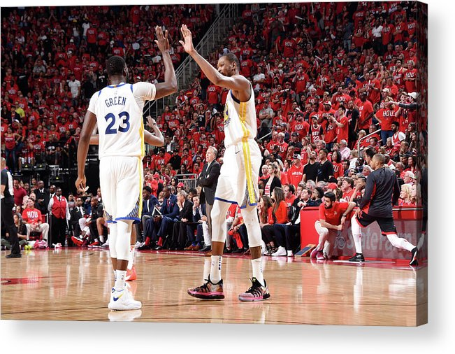 Playoffs Acrylic Print featuring the photograph Draymond Green and Kevin Durant by Andrew D. Bernstein