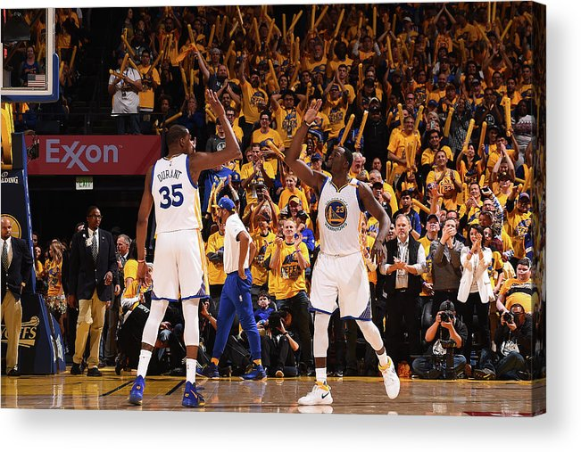 Playoffs Acrylic Print featuring the photograph Draymond Green and Kevin Durant by Noah Graham