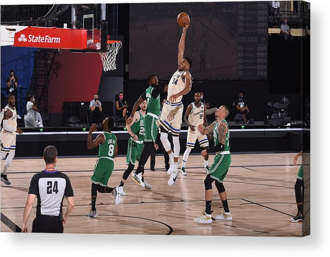 Nba Pro Basketball Acrylic Print featuring the photograph Giannis Antetokounmpo by Garrett Ellwood