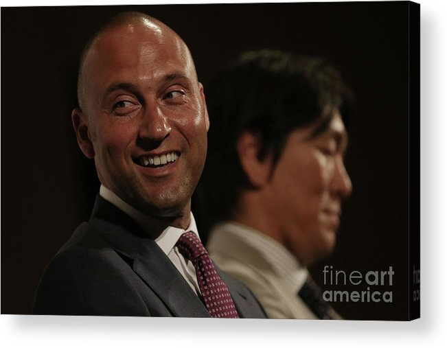 People Acrylic Print featuring the photograph Hideki Matsui and Derek Jeter by Chris Mcgrath