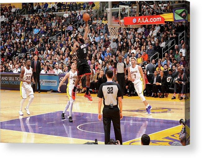 Nba Pro Basketball Acrylic Print featuring the photograph James Harden by Adam Pantozzi