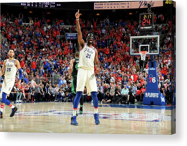 Playoffs Acrylic Print featuring the photograph Joel Embiid by Brian Babineau