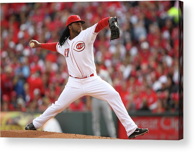 Great American Ball Park Acrylic Print featuring the photograph Johnny Cueto by John Grieshop