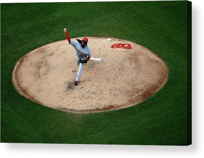 People Acrylic Print featuring the photograph Johnny Cueto by Rob Carr