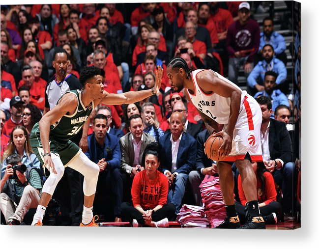Playoffs Acrylic Print featuring the photograph Kawhi Leonard and Giannis Antetokounmpo by Jesse D. Garrabrant