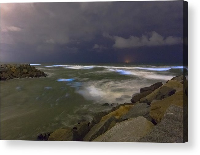 Southern California Acrylic Print featuring the photograph May 2018 Bioluminescent Red Tide In San Diego County by Kevin Key / Slworking