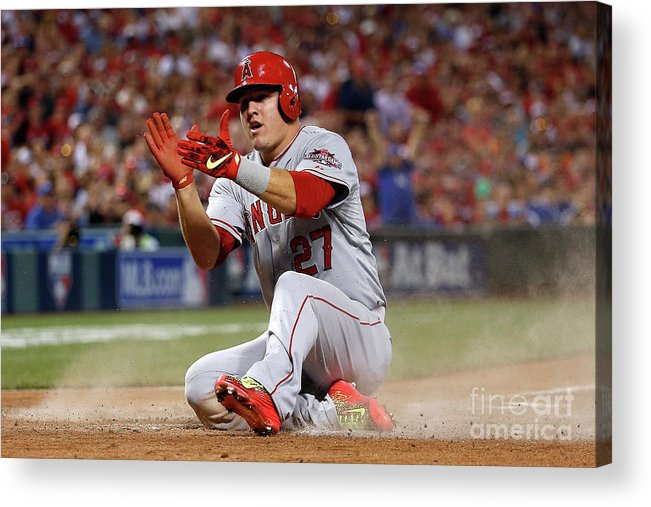 Great American Ball Park Acrylic Print featuring the photograph Mike Trout by Rob Carr
