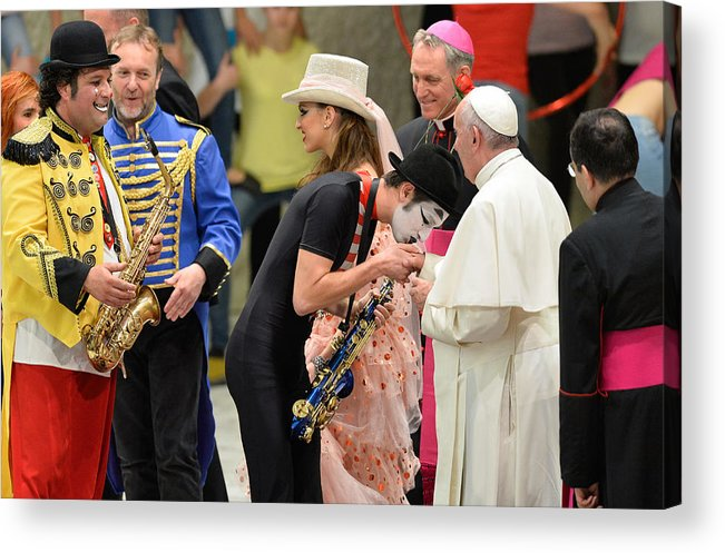State Of The Vatican City Acrylic Print featuring the photograph Pope Francis celebrates the Jubilee of the 'World of Travelling Shows' by NurPhoto