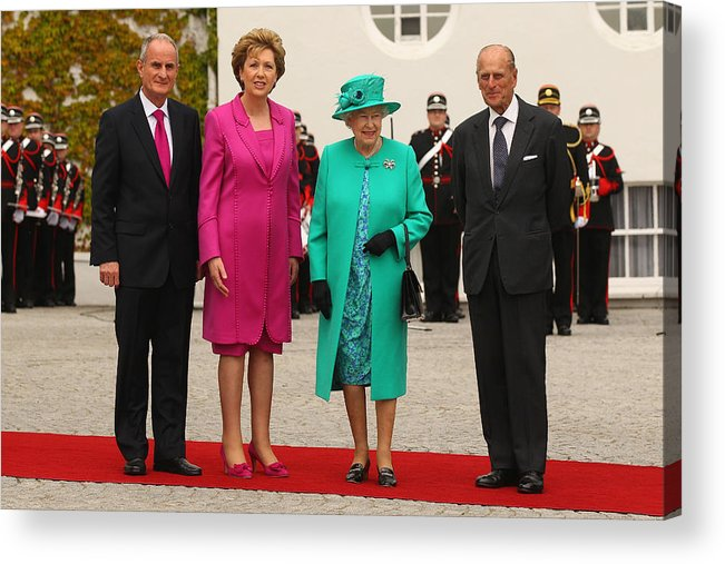 Dublin Acrylic Print featuring the photograph Queen Elizabeth II's Historic Visit To Ireland - Day One by Oli Scarff
