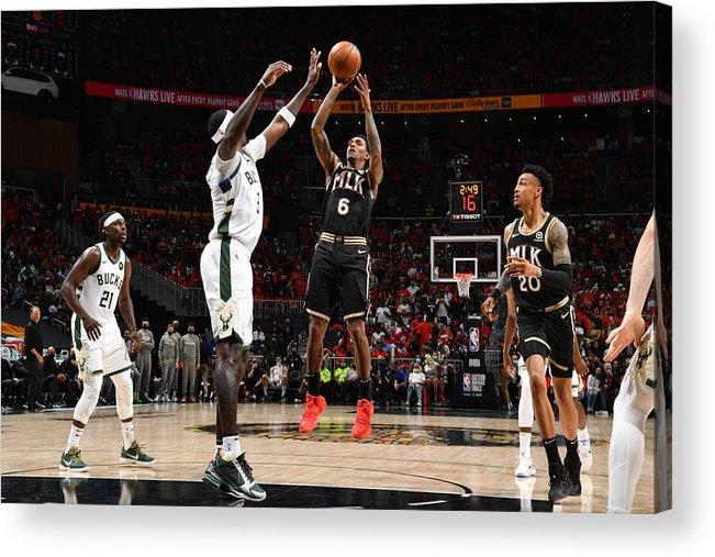 Atlanta Acrylic Print featuring the photograph 2021 NBA Playoffs - Milwaukee Bucks v Atlanta Hawks by Jesse D. Garrabrant