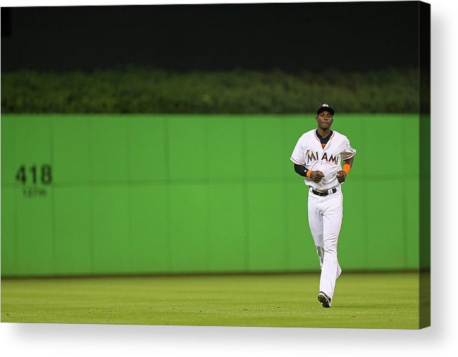 American League Baseball Acrylic Print featuring the photograph Adeiny Hechavarria by Mike Ehrmann