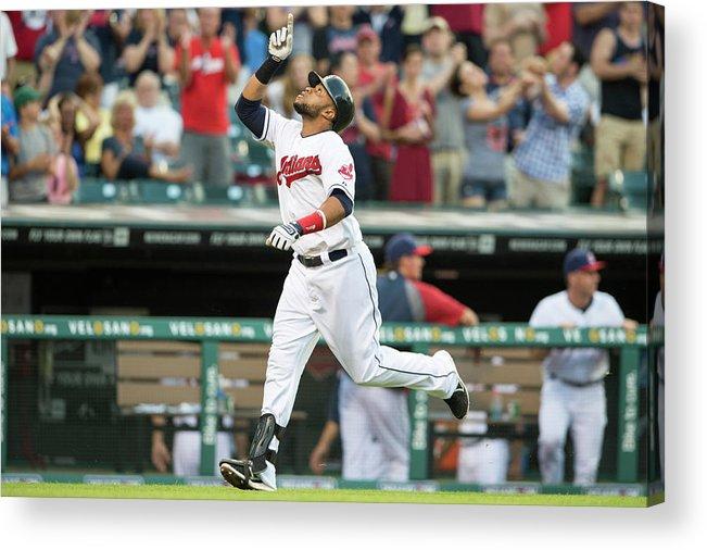 American League Baseball Acrylic Print featuring the photograph Carlos Santana by Jason Miller