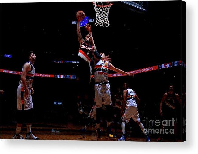 Nba Pro Basketball Acrylic Print featuring the photograph Damian Lillard by Bart Young