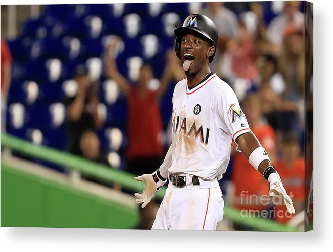 Three Quarter Length Acrylic Print featuring the photograph Dee Gordon by Mike Ehrmann