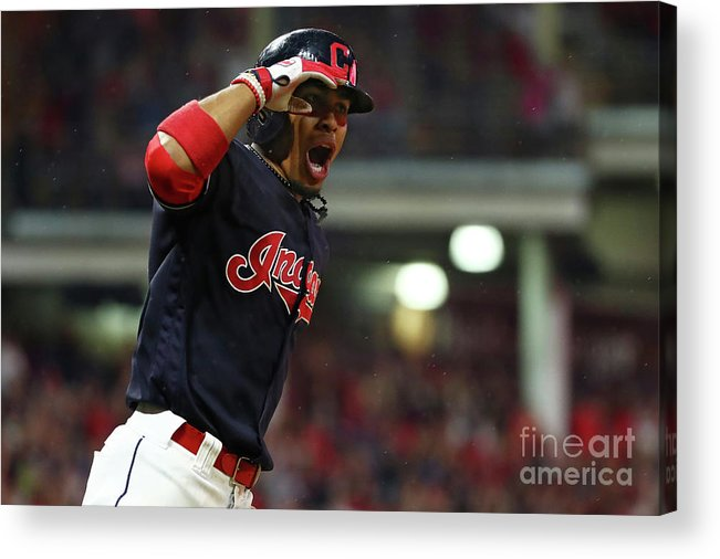Game Two Acrylic Print featuring the photograph Francisco Lindor by Gregory Shamus