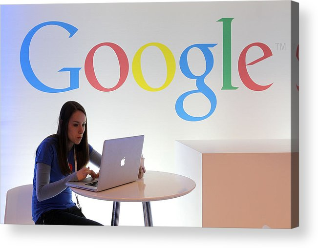 Working Acrylic Print featuring the photograph Google Holds News Conference by Justin Sullivan