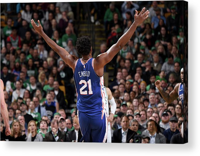 Nba Pro Basketball Acrylic Print featuring the photograph Joel Embiid by Brian Babineau
