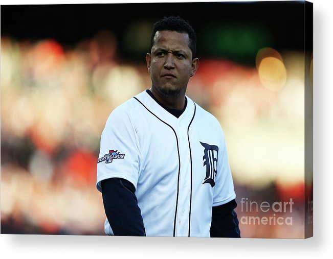 American League Baseball Acrylic Print featuring the photograph Miguel Cabrera by Leon Halip