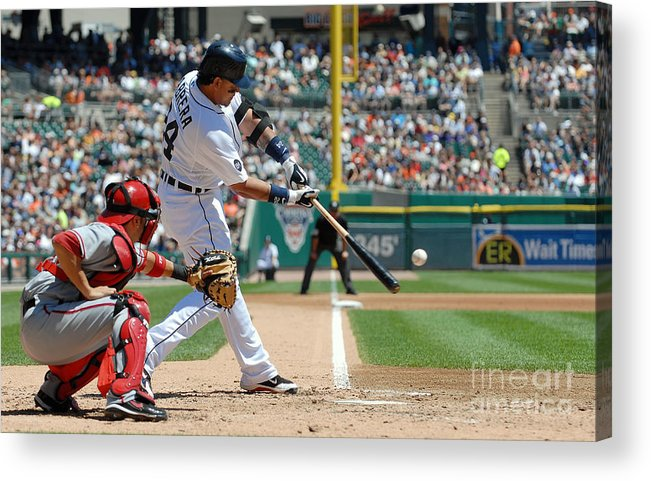 American League Baseball Acrylic Print featuring the photograph Miguel Cabrera by Mark Cunningham