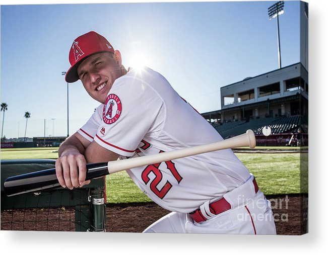 Media Day Acrylic Print featuring the photograph Mike Trout by Rob Tringali