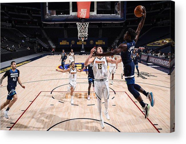 Nba Pro Basketball Acrylic Print featuring the photograph Minnesota Timberwolves v Denver Nuggets by Garrett Ellwood