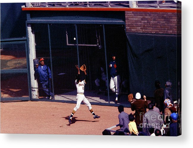 Catching Acrylic Print featuring the photograph Roberto Clemente by Louis Requena