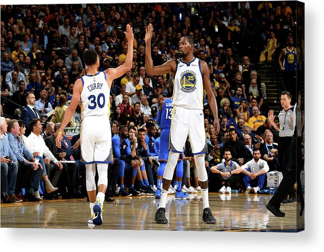 Nba Pro Basketball Acrylic Print featuring the photograph Stephen Curry and Kevin Durant by Noah Graham
