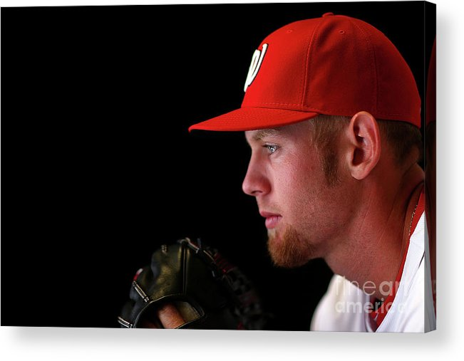 Media Day Acrylic Print featuring the photograph Stephen Strasburg by Mike Ehrmann